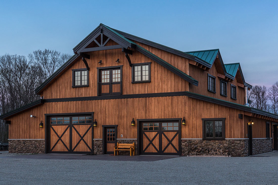 This barn home and hunting cabin was built by DC Builders in Daggett, Michigan.
