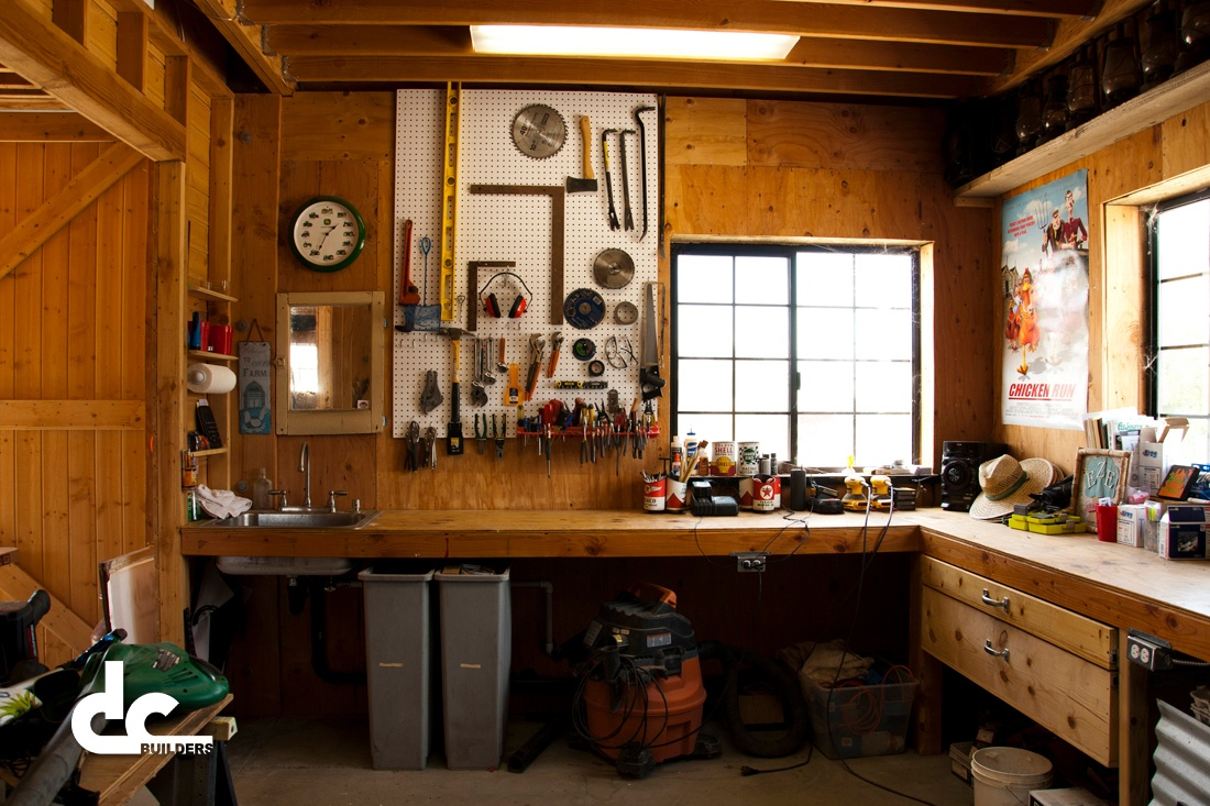 This workshop was custom built by DC Builders in Fillmore, California.