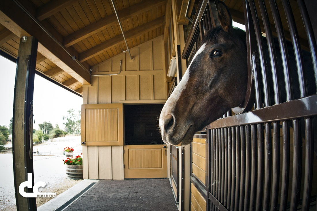 This custom horse barn in San Jose, California was designed and built by DC Builders.
