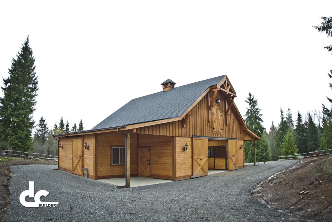 This custom gable barn was custom built by DC Builders.